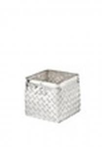 Vaso quadrato per orchidee in metallo argentato argento stile metal tisse cm.14x14x14h