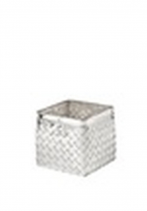 Vaso quadrato per orchidee in metallo argentato argento stile metal tisse cm.11,5x11,5x11,5h