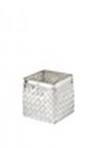 Vaso quadrato per orchidee in metallo argentato argento stile metal tisse cm.8x8x8h