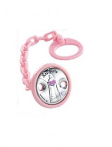 catenella porta succhietto bambina rosa con spilla argento biberon cm.diam.4