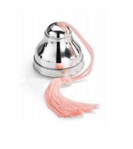 Carillon in argento con cordoncino rosa bimba cm.8h diam.8