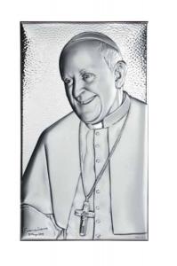 Sacro medio con papa Francesco in argento cm.23x14