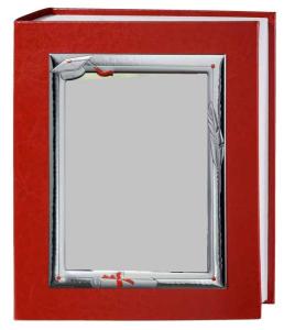 Album rosso in ecopelle 30x35 laurea cornice satinata in argento 18x24 decorata papiro cm.18x24h