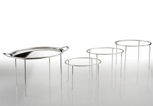 Struttura ovale per vassoi argentato argento Sheffield cm.33x24x21h
