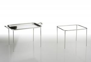 Struttura per vassoi rettangolari argentato argento sheffield cm.44x33x31h