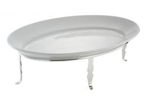 Piatto ovale da portata in porcellana con struttura in metallo argentato argento cm.55x37x19h