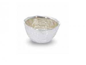 Ciotola nido in vetro e argento cm.4,5h diam.9