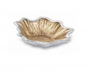 Ciotola foglia acero in vetro e argento cm.14,5x12,5