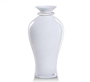 Vaso in vetro bianco e argento cm.42,5h