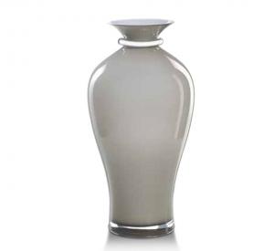 Vaso in vetro tortora e argento cm.42,5h