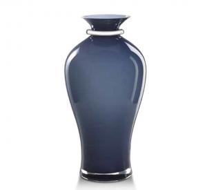 Vaso in vetro blu notte e argento cm.42,5h