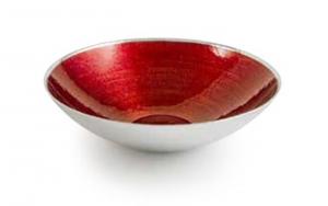 Fruttiera in vetro rosso cardinale   e argento cm.9,5h diam.32