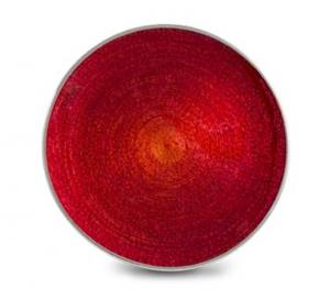 Piatto tondo in vetro rosso e argento cm.diam.37