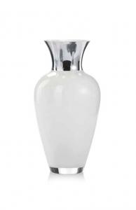 Vaso in vetro bianco e argento cm.40h