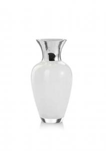 Vaso in vetro bianco e argento cm.30h