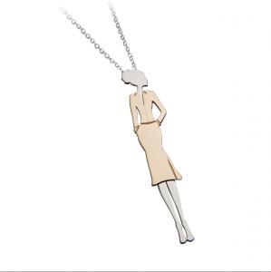 Collana con pedendente donna in argento massiccio 925 rodiato senza nichel con catena cm.80