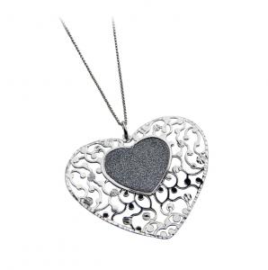Collana con pendente a cuore in argento massiccio 925 rodiato senza nichel con catena cm.44