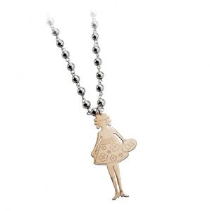 Collana con pendente ragazza in argento massiccio 925 rodiato senza nichel con catena cm.76