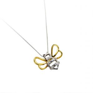 Collana con pendente ape in argento massiccio 925 rodiato senza nichel con catena cm.44