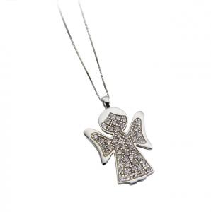 Collana cendente angelo in argento massiccio 925 rodiato senza nichel con catena cm.44