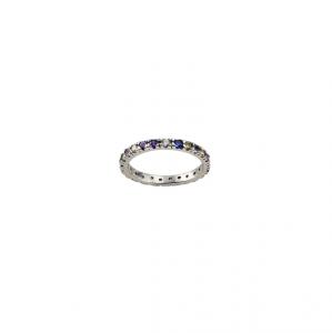 Anello in argento massiccio 925 rodiato senza nichel con zirconi colorati