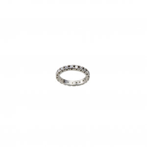 Anello in argento massiccio 925 rodiato senza nichel con zirconi bianchi