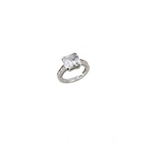 Anello in argento massiccio 925 rodiato senza nichel con zircone bianco