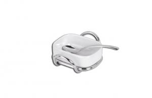 Zuccheriera formaggiera filo in acciaio argentato con porcellana e cucchiaio cm.13x10x4h