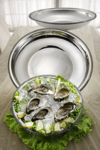 Vassoio ostriche argentato argento stile Regina Anna cm.7h diam.43