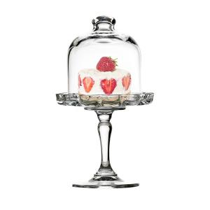 Alzata in vetro per dolci e frutta con campana in vetro cm.19,8h diam.11