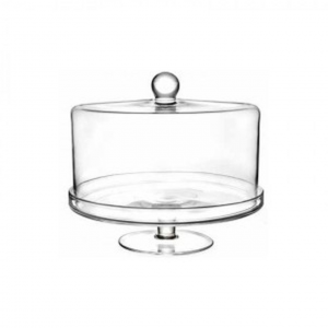 Alzata in vetro con campana cupola in vetro cm.26,5h diam.32,8