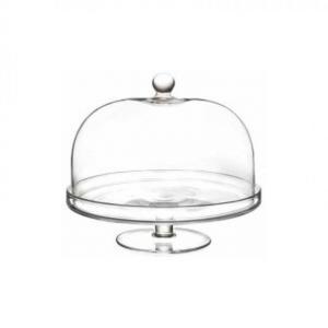 Alzata in vetro con campana cupola in vetro cm.26h diam.29,2