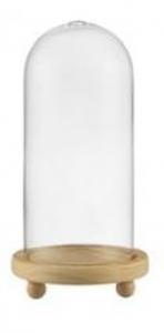 Campana Cupola in vetro con foro con base in legno cm.23h diam.11