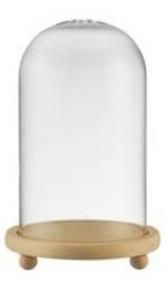 Campana Cupola in vetro con foro con base in legno cm.23h diam.14