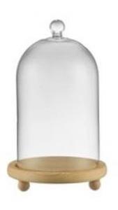 Campana Cupola Coprivivande in vetro base in legno cm.22h diam.13