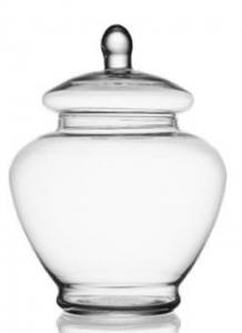 Contenitore in vetro con coperchio cm.27,5h diam.11
