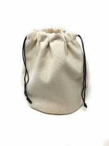 Sacchetto Rotondo Porta Pane in cotone color avorio con cuscino di Nocciolini Ciliegio cm.25h diam.21