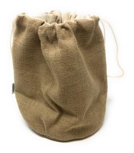 Sacchetto Rotondo Porta Pane Iuta con cuscino di Nocciolini Ciliegio cm.25h diam.21