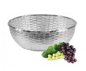 Cestino Frutta Argentato argento Intrecciato diametro cm.26x26x14h diam.38