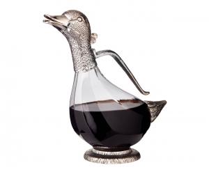 Decanter Vino in vetro Argentato argento 900ml cm.27h