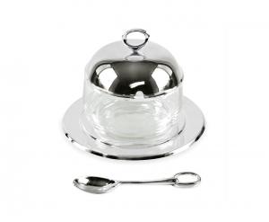 Porta marmellata in vetro argentato argento con cucchiaino cm.diam.14