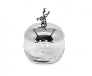 Contenitore in vetro con coperchio Argentato Cervo cm.12h diam.9