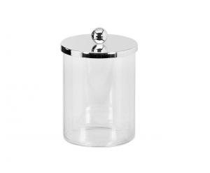 Contenitore per Biscotti in vetro con coperchio argenato argento cm.15,5h diam.10