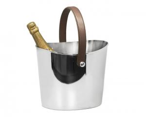 Secchiello Champagne Ghiaccio con manico in pelle cm.26,5x21,5x23h