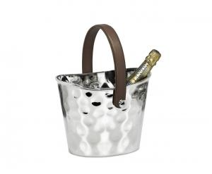 Secchiello Ghiaccio Per Bottiglie Vino con manico in pelle stile Martellata cm.22x17x17,5h