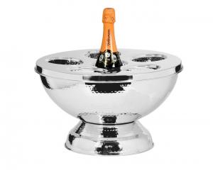 Spumantiera per 6 Bottiglie in acciaio Inox stile Martellata cm.24,5h diam.39,5