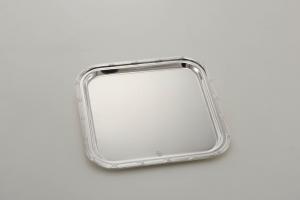 Piatto quadro stile Rubans argentato argento sheffield cm.30x30