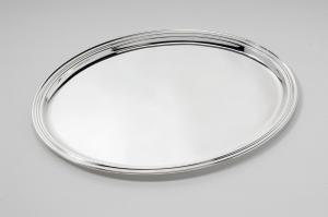 Vassoio ovale argentato argento con bordo girato stile Inglese cm.30x22