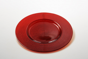 Sottopiatto in vetro rosso decorato a mano con riflessi dorati cm.2h diam.34
