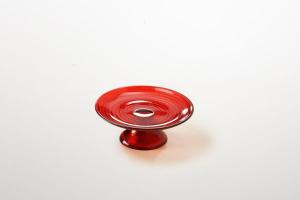 Alzata per dolci in vetro rosso decorata a mano riflessi dorati cm.6h diam.16